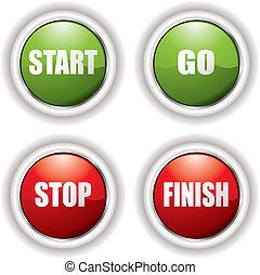כפתורים, התחיל, העצר
