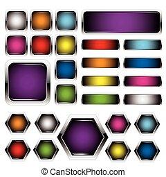 כפתורים, קבע, מתכת, צבעוני