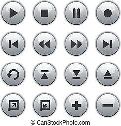 כפתורים, תקשורת, לבן, מבריק