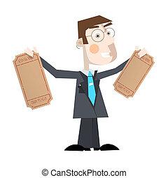 כרטיסים, דוגמה של עסק, וקטור, ריק, איש