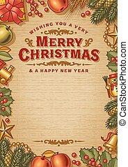 כרטיס, דש, פסק, בציר, חג המולד, שמח, העתק