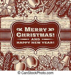 כרטיס, חג המולד, חום, בציר, שמח