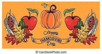 כרטיס, ירקות, הודיה, שמח, יום