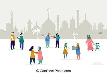 כרטיס, mubarak, ramadan, חופשה, מתנות, eid, לתת, אנשים, וקטור, דוגמה, אוכל., רקע., דגל, דש, הרבה, איסלמי, kareem