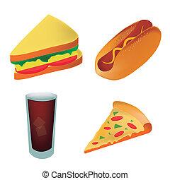 כריך, איקונים, אוכל, שתה, כלב, מהיר, ארבעה, חם, קור, להציג, פיצה