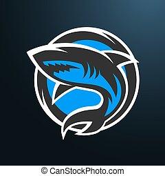 כריש, לוגו, חושך, ספורט, רקע.