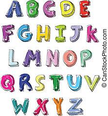 כתוב, מכתבים, צבעוני, העבר