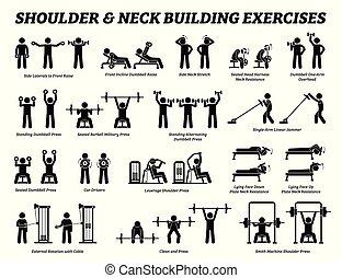 כתף, בנין, צוואר, הבן, pictograms., הדבק, שריר, התאמן