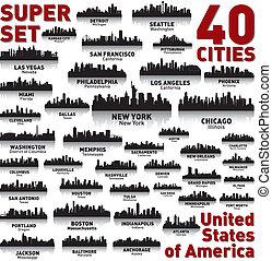 לא ייאמן, מדינות, אחד, set., קו רקיע, עיר, america.