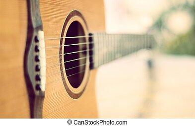 לא עמוק, פרט, גיטרה, תחום, עומק, אקוסטי