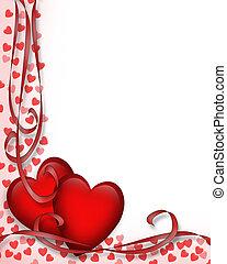 לבבות, ולנטיינים, גבול, יום, אדום