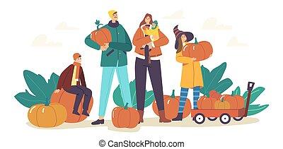לבחור, חגיגה, אבא, בשל, ילדים, אמא, משפחה, דלועים, לאסוף, שמח, צמחים, סתו, garden.
