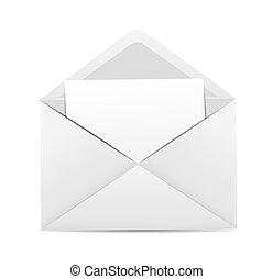 לבן, וקטור, מעטפה, דוגמה, איקון
