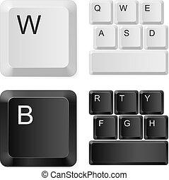 לבן, מחשב, שחור, keys.