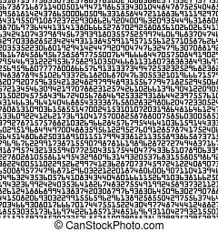 לבן, מקרי, שחור, סמלים, מספרים, רקע, seamless, pattern.
