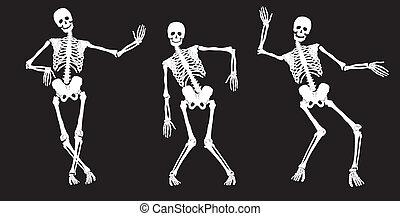 לבן, black., לרקוד, שלדים