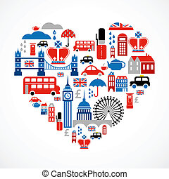 לב, אהוב, איקונים, הרבה, -, וקטור, לונדון