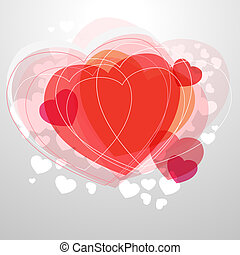 לב, אור, מודרני, אפור, רקע, אדום