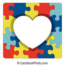 לב, בלבל, מודעות, autism, דוגמה