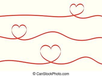 לב, הפרד, רקע., לבן, סרטים, אדום