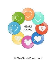 לב, וקטור, קבע, icons.