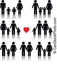 לב, חיים, קבע, משפחה, אדום שחור, איקון