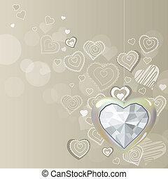 לב, יהלום, אור, אפור, רקע, לתלות, כסף