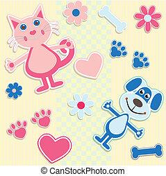 לב, כלבים, seamless, רקע, חתולים