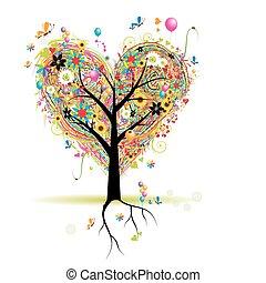 לב, עץ, חופשה, עצב, בלונים, שמח