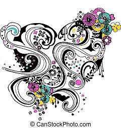 לב, פרוח, עצב, הסתבב, פרח