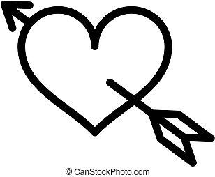 לב, קופידון, איקון של חץ