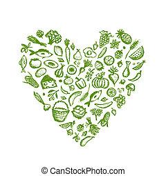 לב, רשום, אוכל בריא, עצב, רקע, עצב, שלך