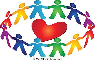 לב, שיתוף פעולה, מסביב, לוגו