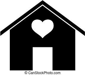 לב, silhouette., איקון, דיר