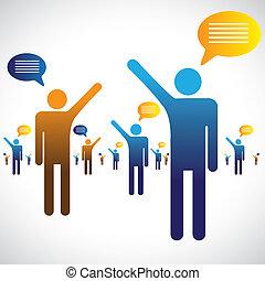 לדבר, לשוחח, איקונים, הרבה, graphic., אנשים, דוגמה, מישהו, סמלים, אחר, שחח, או, לדבר, מראה