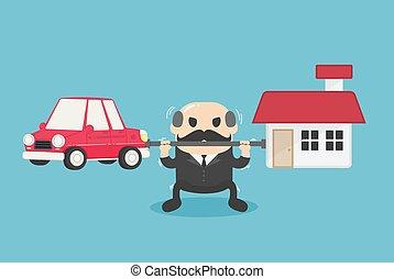 להביא, ראש, משאים, היא, חובות, מכונית, can't, פתור, בית, איש עסקים