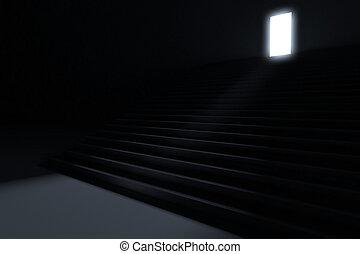 להוביל, צעדים, אור, חושך