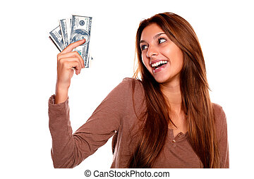 להחזיק, כסף, פדה, צעיר, נקבה, לחייך