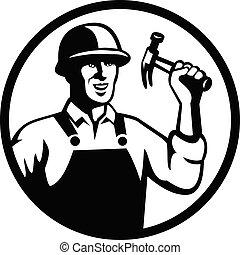 להחזיק, עיגול שחור, עובד, הבס, בניה, נגר, לבן