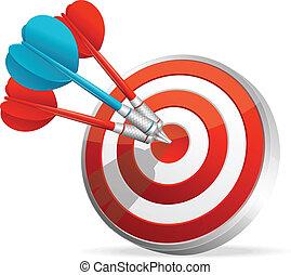 להכות, darts., דארטבוארד, כוון, צבעוני