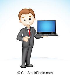 להראות, 3d, מחשב נייד, איש של עסק
