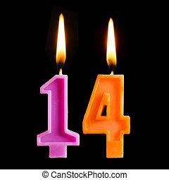 להשרף, יצור, נרות, הפרד, ארבעה עשר, רקע., יום הולדת, דמויות, עוגה, שחור, 14
