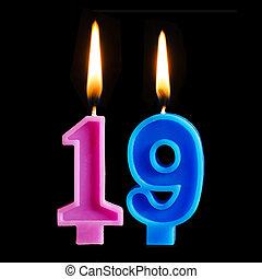 להשרף, יצור, 19, נרות, הפרד, רקע., יום הולדת, דמויות, עוגה, שחור, nineteen