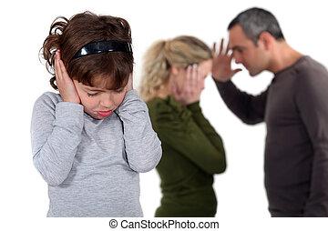 להתווכח, ילדה, העמד, הורים
