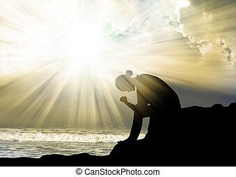 להתפלל, אלוהים, אישה, שקיעה
