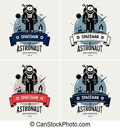 לוגו, אסטרונאוט, איש חלל, design.