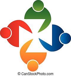 לוגו, וקטור, אנשים של פגישה, שיתוף פעולה