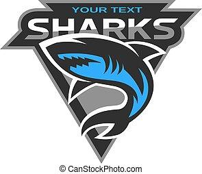 לוגו, כרישים, ספורט, team.