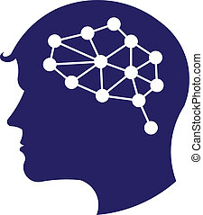 לוגו, מושג, רשת, מוח