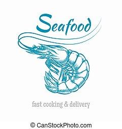 לוגו, רשום, וקטור, מאכלי ים, שרימפ